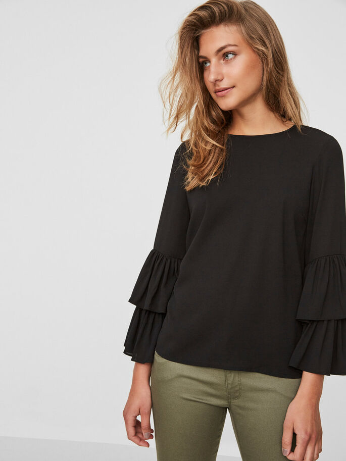 FRILL LONG SLEEVED BLOUSE, Black, large