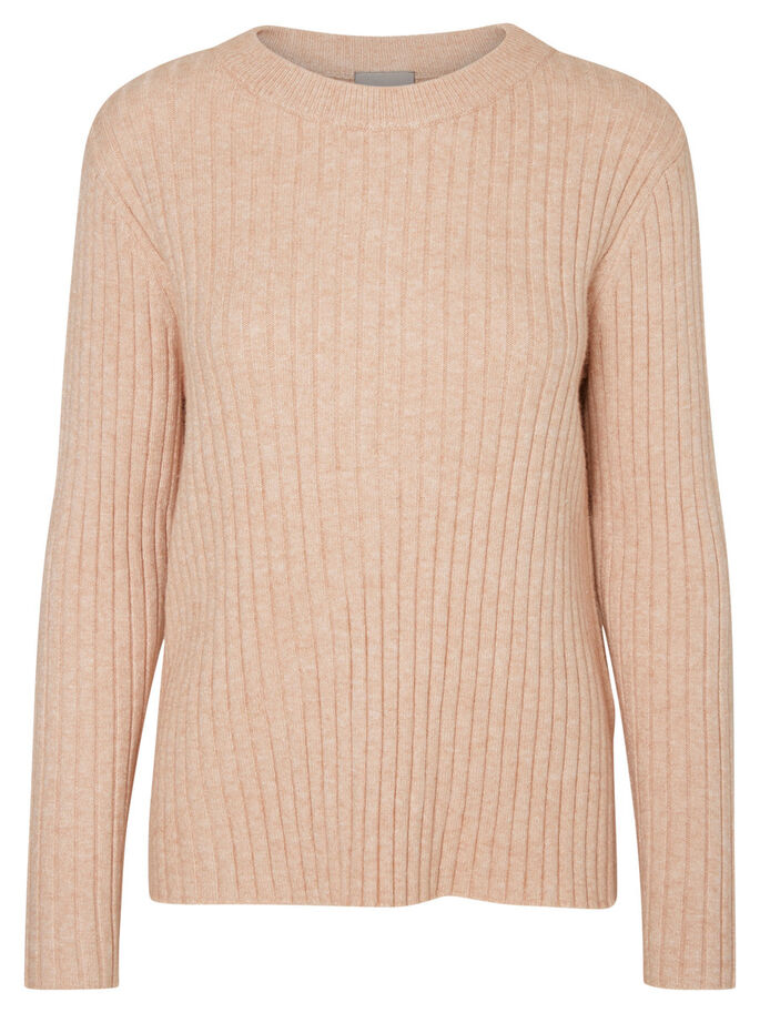 CASUAL STRIKKET PULLOVER, Cameo Rose, large