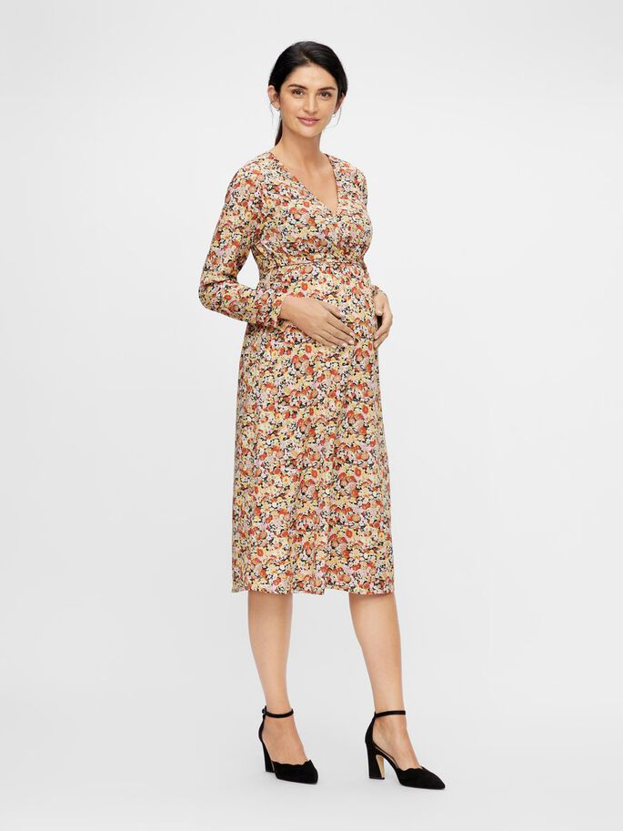 FLORAL WRAP 2-IN-1 MATERNITY DRESS, Black, large