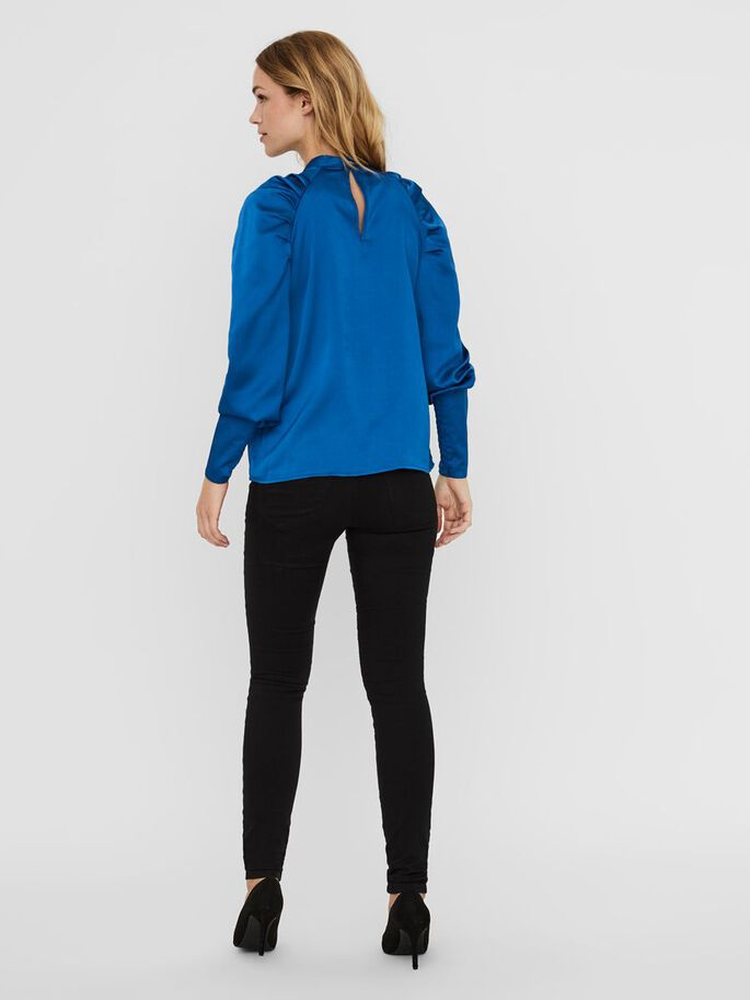 HIGH NECK LONG SLEEVED TOP, Classic Blue, large