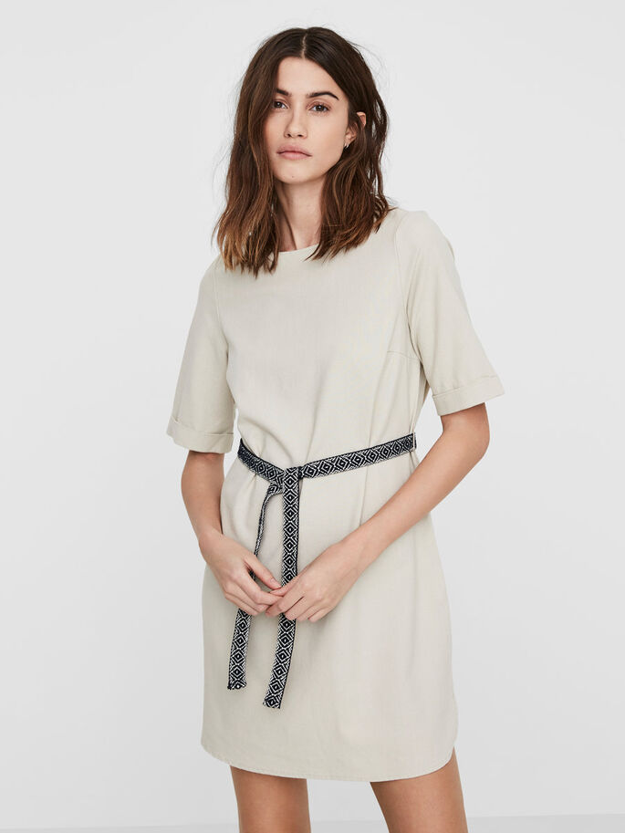 LINEN DRESS, Oatmeal, large