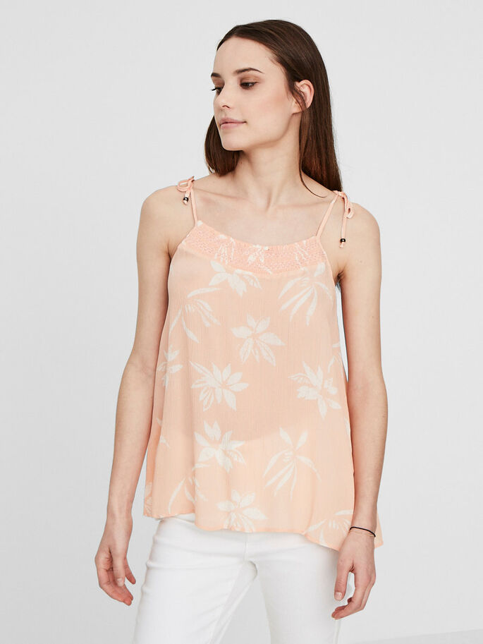 FLOWER SLEEVELESS TOP, Dusty Pink, large
