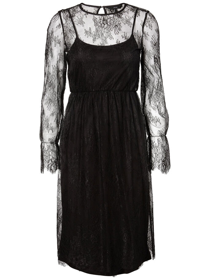 LONG LACE DRESS, Black, large