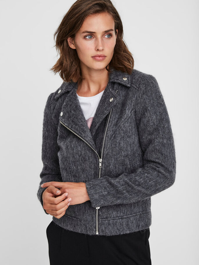 SHORT WOOL JACKET, Medium Grey Melange, large