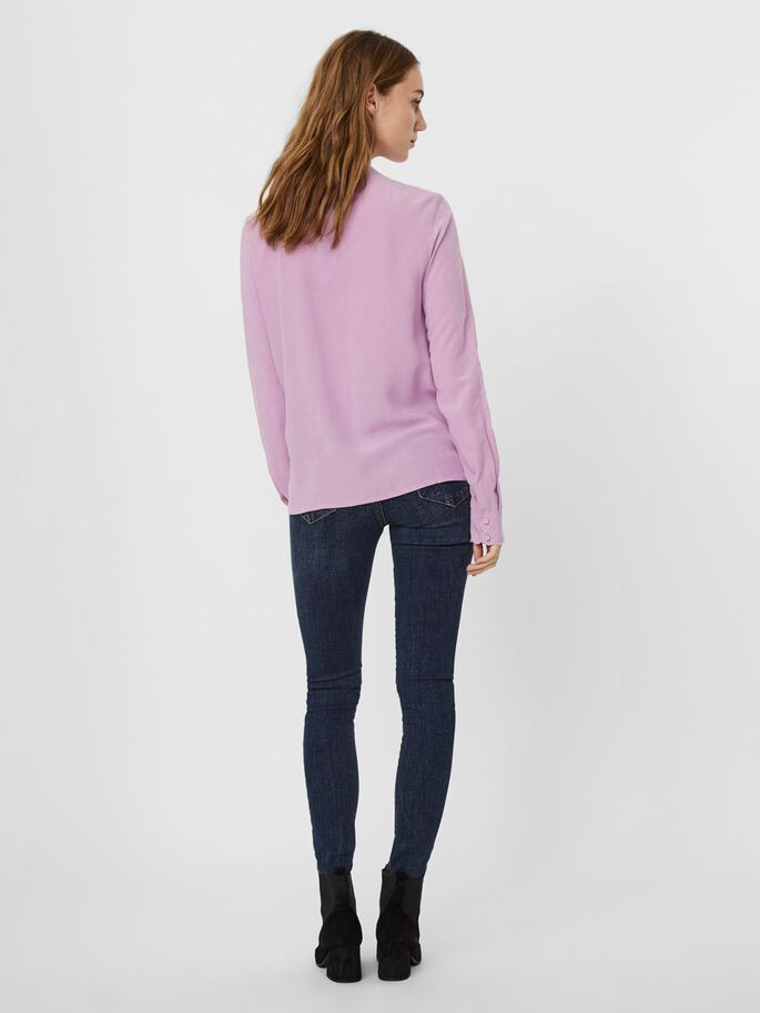 SCALLOP NECKLINE LONG SLEEVED TOP, Violet Tulle, large