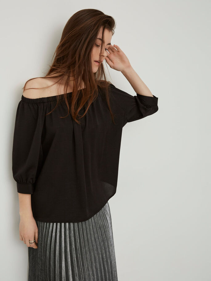 OFF-SHOULDER 3/4 SLEEVED BLOUSE, Black, large