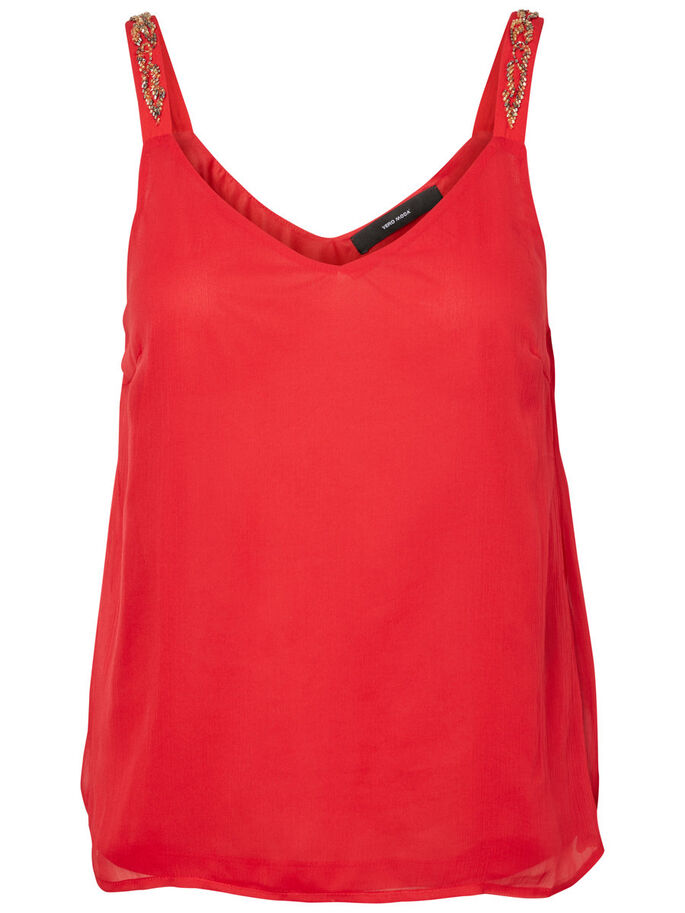 PEARLY SLEEVELESS TOP, Lychee, large