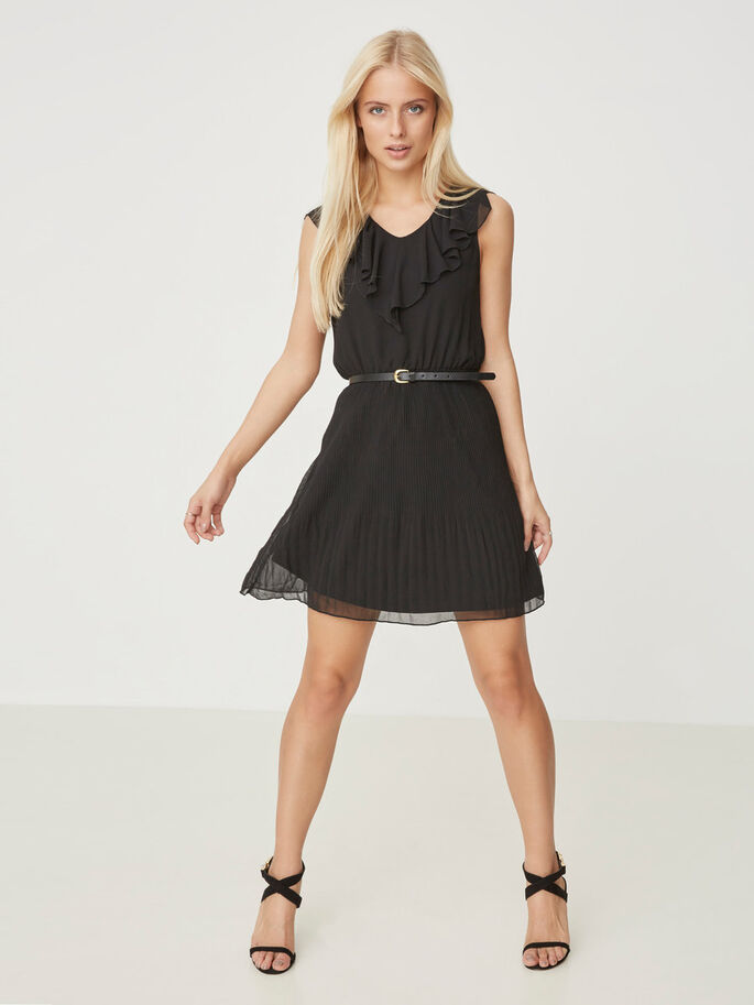 SLEEVESS SHORT DRESS, Black, large