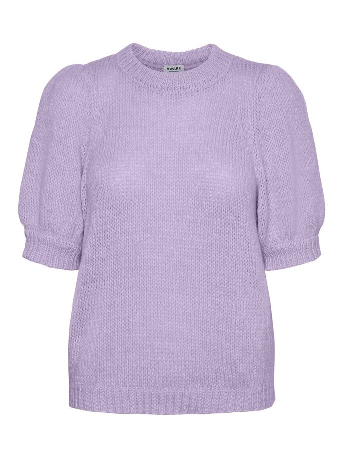 SHORT SLEEVED KNITTED PULLOVER, Pastel Lilac, large