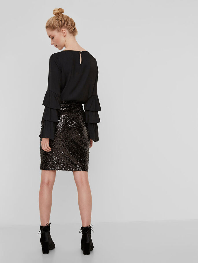 SEQUINED SKIRT, Black, large