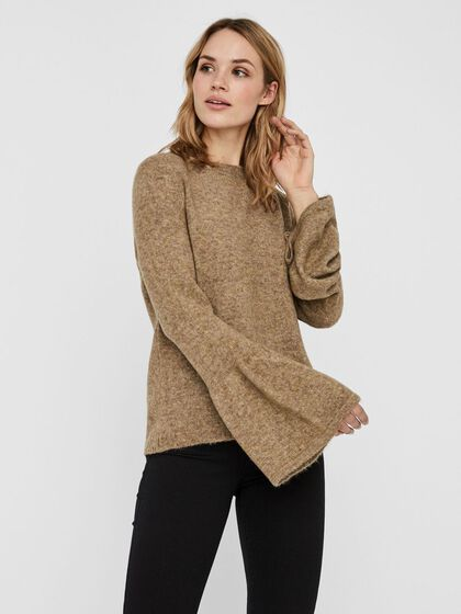 BELL SLEEVED KNITTED PULLOVER