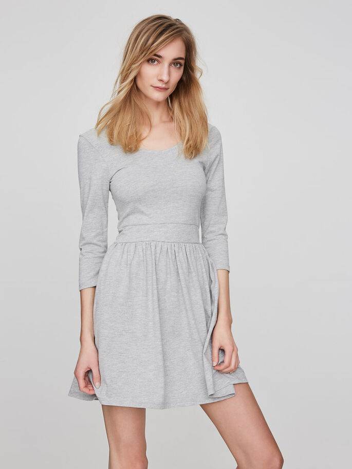 CASUAL LONG SLEEVED DRESS, Light Grey Melange, large