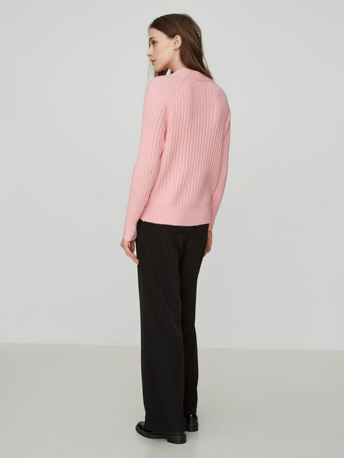 HIGH NECK KNITTED PULLOVER, Peony, large