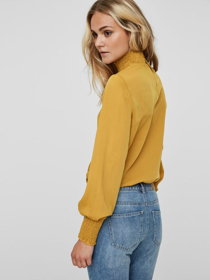 DETAILED LONG SLEEVED BLOUSE, Harvest Gold, large