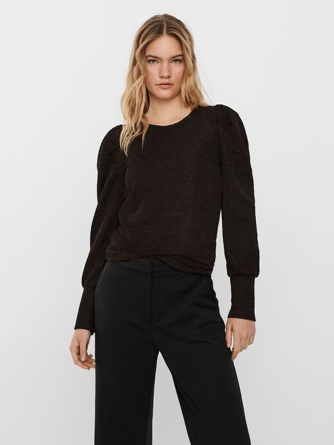 PUFF LONG SLEEVED TOP, Black, large