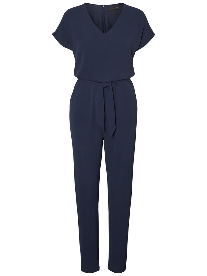 SHORT SLEEVED JUMPSUIT, Navy Blazer, large
