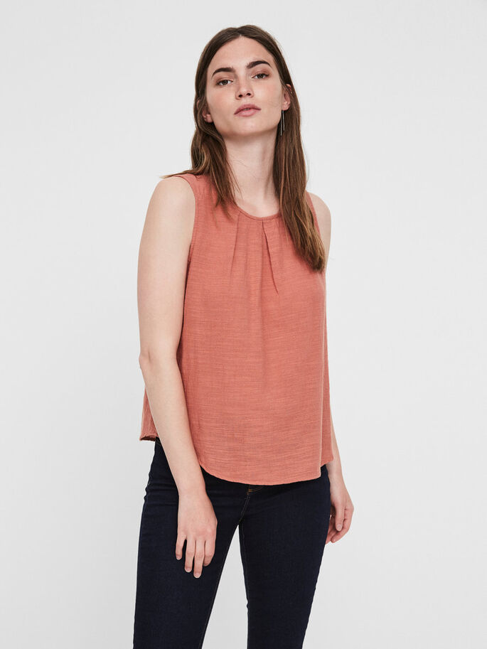 FEMININE SLEEVELESS TOP, Cedar Wood, large