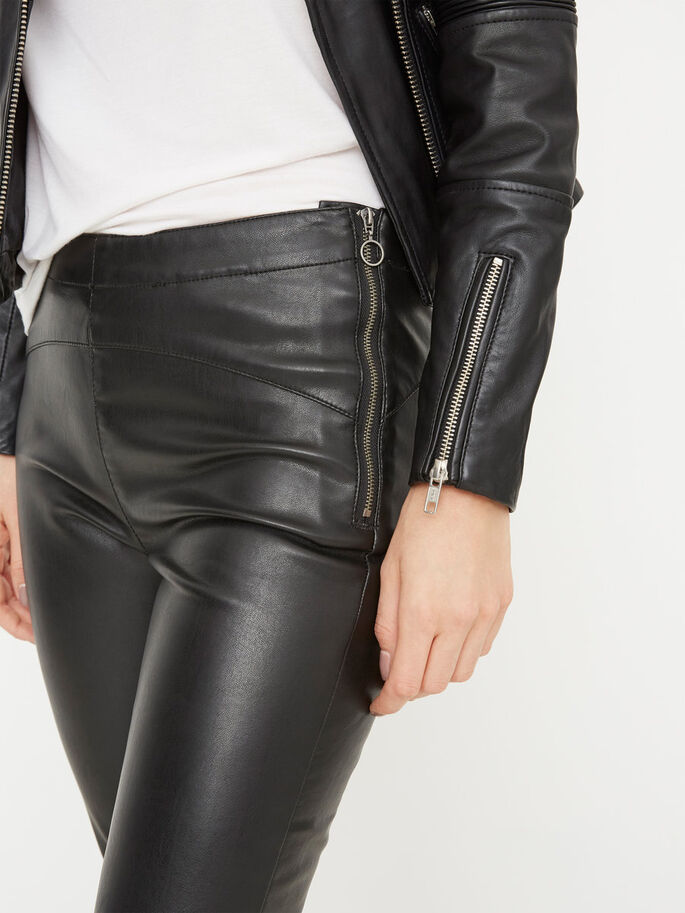 LEATHER-LOOK NW LEGGINGS, Black, large