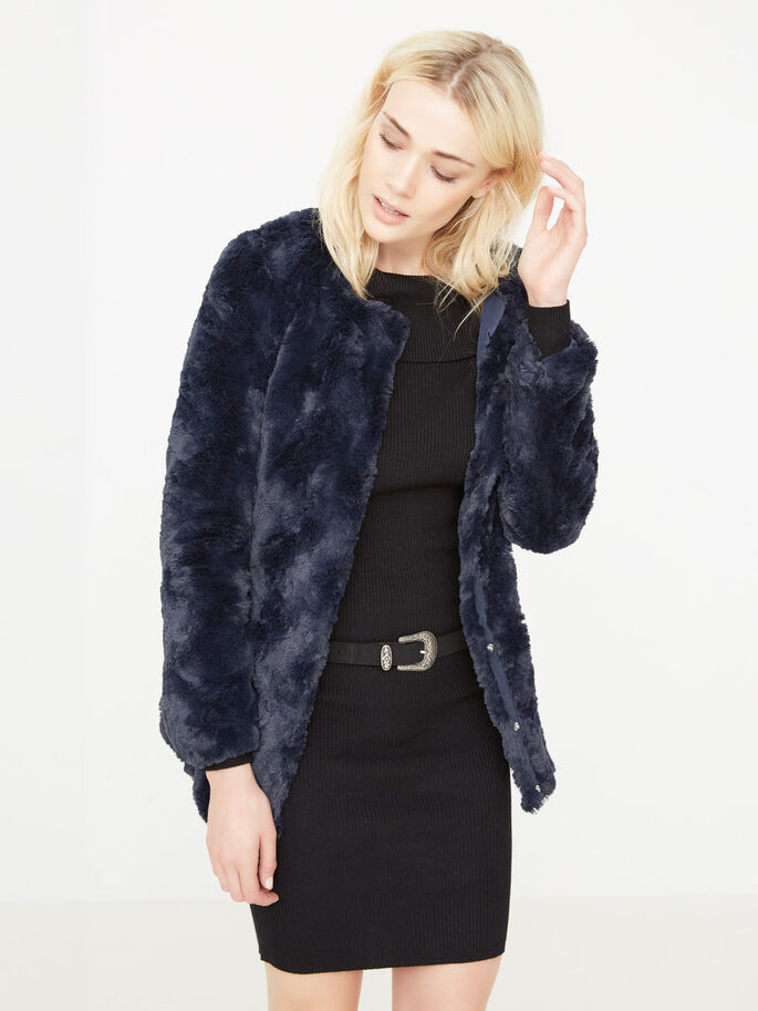 FAUX FUR JACKET, Navy Blazer, large