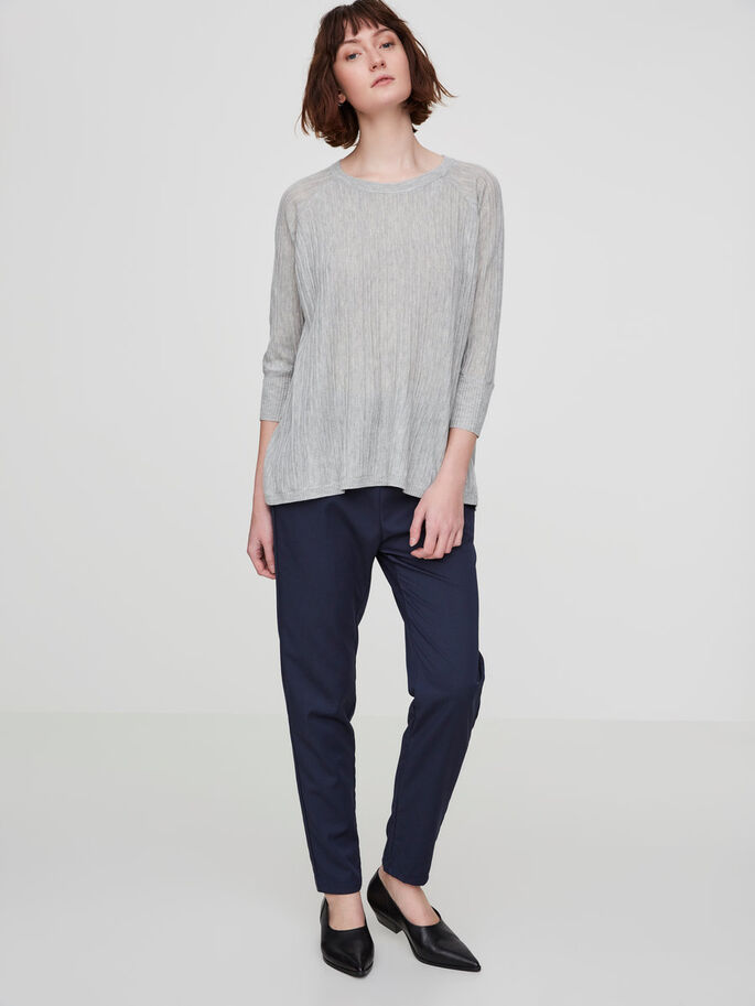 CASUAL 3/4 SLEEVED BLOUSE, Light Grey Melange, large