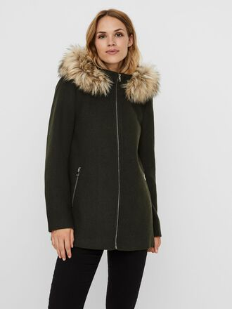 FAUX FUR HOODED WOOL JACKET