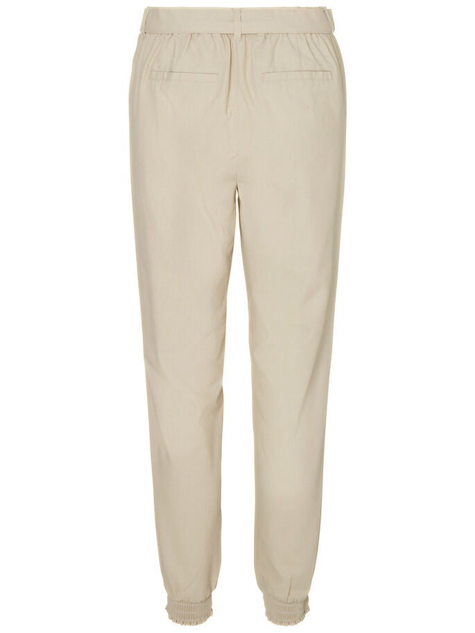 LINEN ANKLE TROUSERS, Oatmeal, large