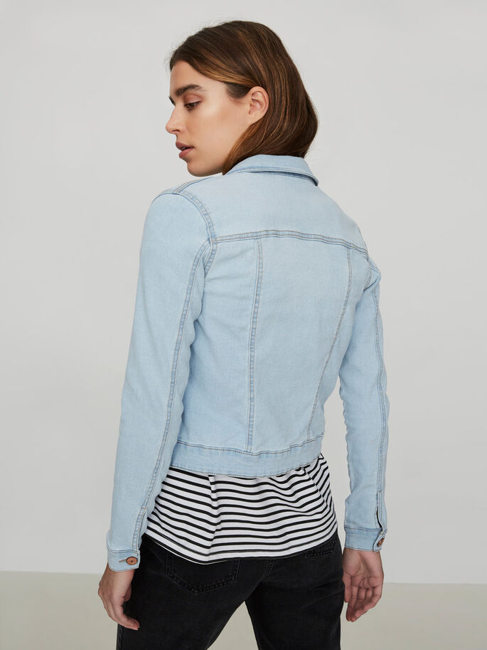 LONG SLEEVED DENIM JACKET, Light Blue Denim, large